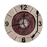 Mailine Reloj de Pared Redondo Música Vintage Reloj de Pared Redondo Silencioso No Funciona con Pilas Fácil de Leer Arte Decorativo del Reloj