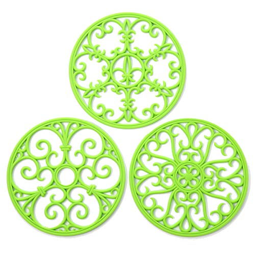 Silicone Trivet Mat - Non-Slip & Heat Resistant Kitchen Hot Pads for Countertops & Table - Kitchen Trivets for Hot Dishes & Cookware - Hot Pot Holder for Pots & Pans - Lime Green,Set of 3