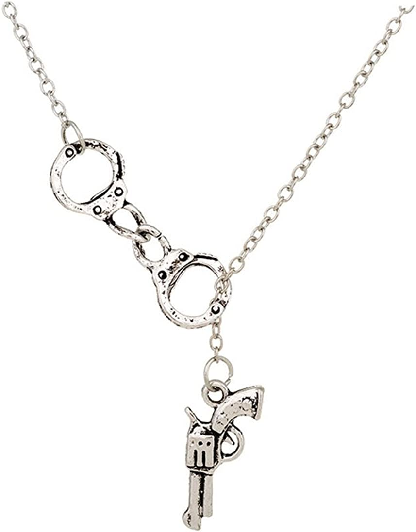 YICAIHUI 2 Colors Lariat Style Handcuffs Gun Charms Pendant Necklace Choker Collar Statement Slidable Necklaces