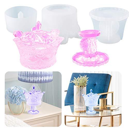 Silikon-Kronen-Aufbewahrungsbox Kunstharzformen, Resin Casting Epoxy Molds, DIY Epoxidharz Gussformen für Kerzenhalter, Schmuckkästchen, Geschenkbehälter, Tisch Dekoration