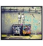 Funny Motivational Banksy Street Art Mural 8x10 Picture - Urban Graffiti Photo...