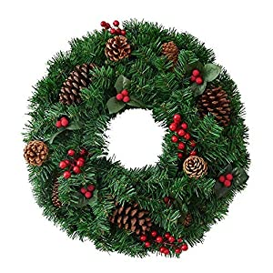 AA-SS Christmas Wreath Christmas Tree Round Ring Handcrafted Elegant Holiday Wreath Multicolor for in or Outdoors – Home Grave Wedding