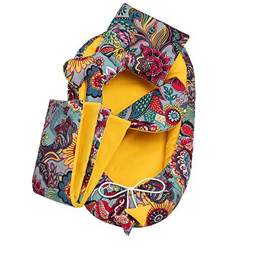 Solvera_Ltd Juego de accesorios para bebé de 5 piezas, incluye nido de 90 x 50 cm, cojín plano extraíble, manta para gatear, cojín de mariposa para bebé, 100% algodón (Exotic)