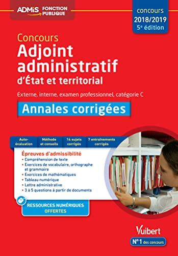 Concours Adjoint Administratif Categorie C Annales Corrigees Etat Et Territorial Concours 2017 2018