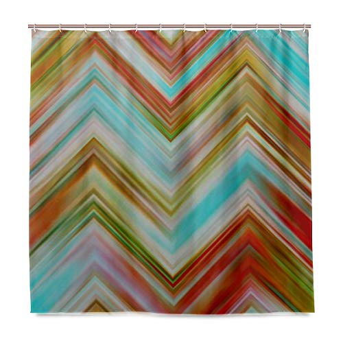 """CHNEGYX Shower Curtain Colorful Zigzag Striped Pattern Backgrounds Design with Hooks Polyester Printing Decorative Bath Curtain Modern Bathroom Accessories, 72"""" X 72"""""""