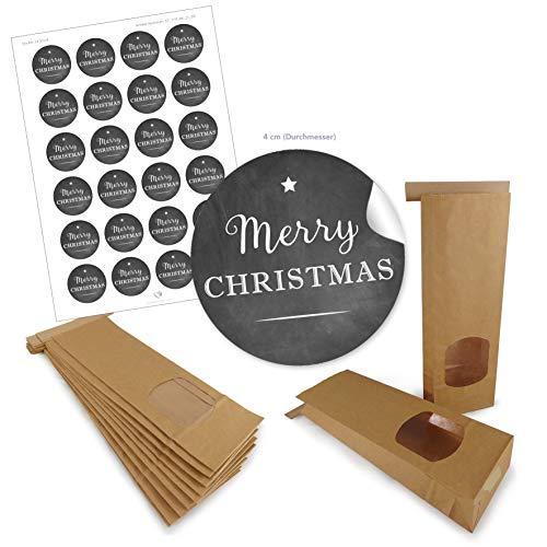 SET braune Blockbeutel + Sticker: 24 BIO Papiertüten Weihnachten Geschenktüten mit Fenster & Verschluss 9 x 27 cm + 24 Aufkleber Ø 4cm MERRY CHRISTMAS SCHWARZ Geschenktüte Gebäck Süßigkeit