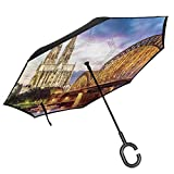 Car Reverse Umbrella,Illuminated Dom In Cologne Old Bridge And Rhine Sunset European Culture Print,With C-Shaped Handle