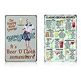 Yakobst 2 Stück Wandschild Plakette Poster, Cocktail