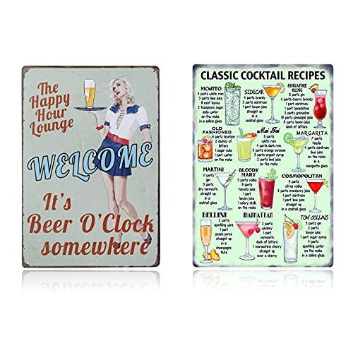 Yakobst 2 Pièces Poster Métal Vintage, Peinture D'étain en Métal Vintage de Bière, Décoration de Mur de Bière de Pub de Café de Bar, Vintage Métal Peinture Affiche Plaque Murale de Barre, 20cmx30cm