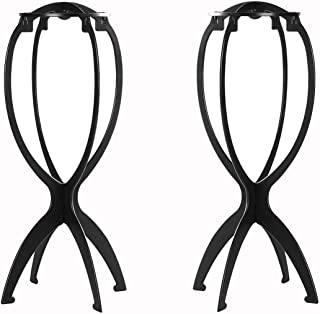 Wig Stand, 2Pcs Plastic Wigs Display Tool, Portable Durable Stable Hair Support, Black