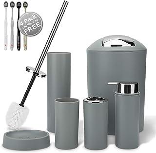 Ohok Bathroom Accessories,6 Pcs Bathroom Accessories Set Includes Toothbrush,Soap Dispenser,Trash Can,Tumbler Cup,Toilet B...