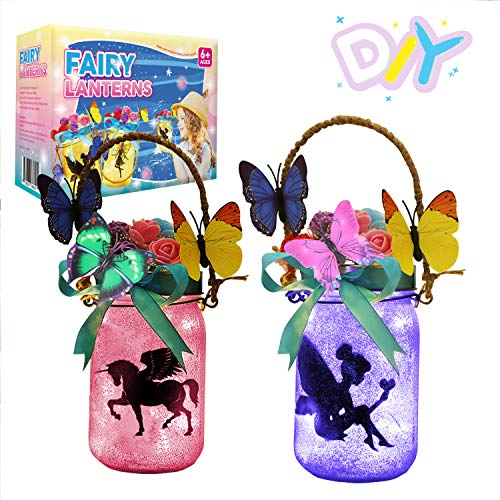 LAYKEN Fairy Lantern Craft Kit for Kids  DIY Make Your Own Fairy Lantern Jar Decor Craft for Girls Age 6 7 8 9 10 Year Old Great Gift for Girl RoomYard and Garden Decor Art Project