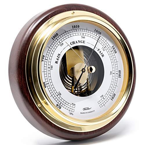 Fischer 1434B-22 - Innen-Barometer - 170mm Druckmessgerät mit nussbaumfarbenem Echtholz-Gehäuse gebeizt Made in Germany