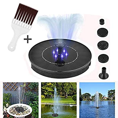 LED Solar Fountain Pump, Floating Solar Panel Fountain Kit with Rechargeable Battery and Submersible Pump for Bird Bath Outdoor Garden Pond Swimming Pool