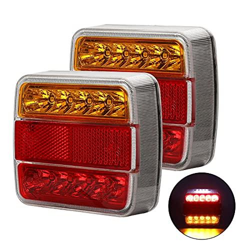2-Pack 12V LED Rückleuchten für Anhänger Rücklichter Rücklicht - mit Speichenreflektor - Kennzeichenbeleuchtung - E-Mark Zertifizierung Straßenverkehr Beleuchtung für PKW LKW Caravan Kfz