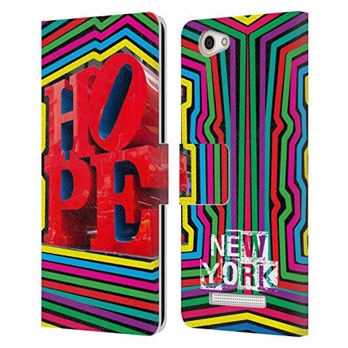 Head Hülle Designs Offizielle Grace Illustration Hoffnung New York Leder Brieftaschen Handyhülle Hülle Huelle kompatibel mit Wileyfox Spark X