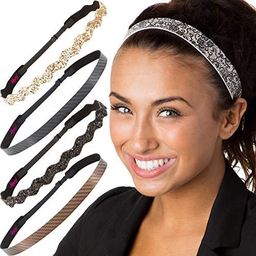 Hipsy Cute Fashion Adjustable No Slip Hairband Headbands for Women Girls & Teens (Essential Black/Brown/Gold 5pk)
