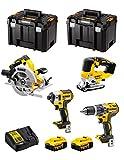DeWALT Kit DWK403 (Trapano a Percussione DCD796 + Avvitatore ad Impulsi DCF887 + Seghetto Alternativo DCS334 + Sega Circolare DCS570 + 2 Batterie 5,0 Ah + Caricabatterie + 2 x TSTAK VI)