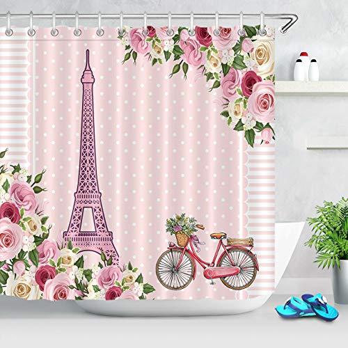 Aquarell Frühlingsblume Fahrrad Eiffelturm Dekorativer wasserdichter Duschvorhang mit HD-Druck, geeignet für Badezimmer, 12 freie Haken,180x180 cm