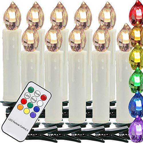 100 Set LED candele natalizie RGB luci natalizie decorazioni albero di natale candele natalizie tradizionali telecomando IR wireless con funzione timer, RGB, candele per decorazioni natalizie, party