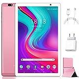 Tablet 10 Pollici Android 10.0 Originale 4GB RAM 64GB ROM +Espanso 128GB con Schermo IPS HD Quad Core 1.6GHz Tablets LTE SIM con WIFI | 8000mAh | Bluetooth | GPS |Type-C (Rosa)