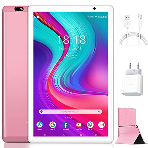 Tablet de 10 pulgadas Android 10.0 original 4 GB RAM 64 GB ROM + 128 GB de memoria con pantalla IPS HD Quad Core 1,6 GHz Tablets LTE SIM con WiFi | 8000 mAh | Bluetooth | GPS | Type-C (Rosa)
