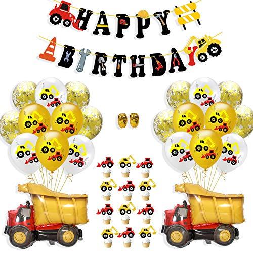 WENTS Bagger Kinder Happy Birthday Deko Luftballons Geburtstagsdeko Jungen 1 Jahr mit Happy Birthday Girlande mit Folienballon für Babyshower Boy 3 5 10 Kindergeburtstag Dekoration