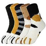 5 Pairs Women Fuzzy Socks - Warm Cat Socks Fluffy Socks Soft Cat Paw Socks Cozy Socks Winter Plush Slipper Socks for Women