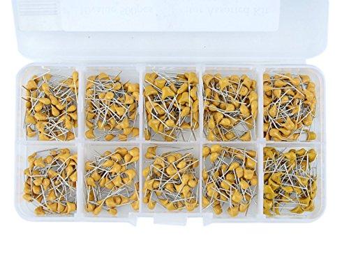 DollaTek 500PCS 10 Valores 0.1uF a 10uF (104~106 Cada 50pcs) Kit del Condensador de cerámica monolítico de múltiples Capas Set del Surtido + Caja plástica