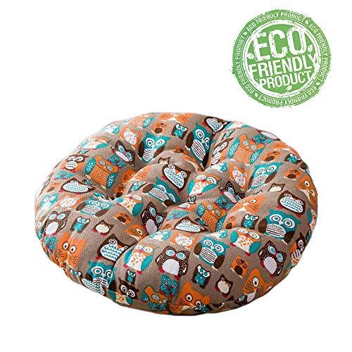 Cuscino per Sedia Tondo, Morbuy Animale Stampa Cuscino Tatami Creativo Sedia da Ufficio Indietro Cuscini del Divano Cuscini per Interno ed Esterno Decorazione (40x40cm,Gufo)