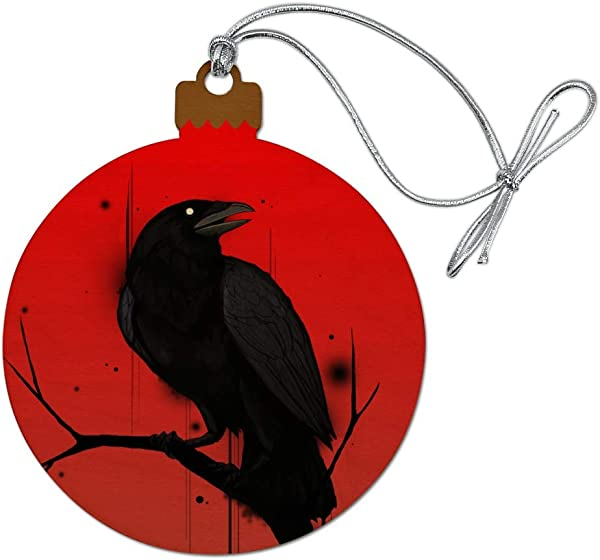 GRAPHICS MORE Crow On Branch Wood Christmas Tree Holiday Ornament