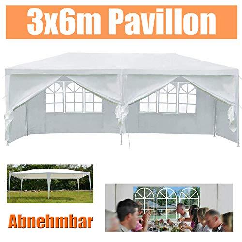 Huini 3x6m Pavillon im Freien Party Hochzeit BBQ Zelt mit 6 Seitenwänden einfach entfernen Montage Markise Gartenpavillon - Weiß