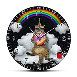 Xinxin Wall Clock Funny Meowgical Unicorn Cat with Rainbow Donut Hd Printed Wall Clock Caticorn Cat Wall Art Girl Room Wall Watch Cat Lovers Gift Decorative for Kitchen Living Room Bedroom Office