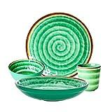 Rice DK - Juego de 4 piezas de melamina, diseño de espiral, taza, tazón para pasta, tazón pequeño, plato