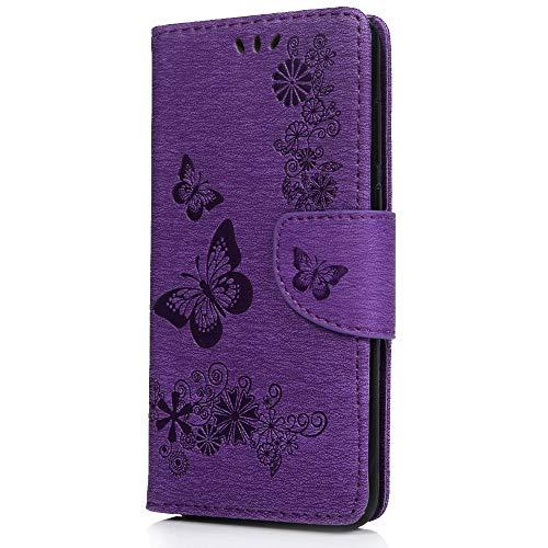 Veapero Kompatibel für Hülle Samsung Galaxy A51 Handyhülle Case PU Leder Hülle Wallet Tasche Soft TPU Innere Schutzhülle Schale Ständer Kartenfach Magnetverschluss Brieftasche,Lila