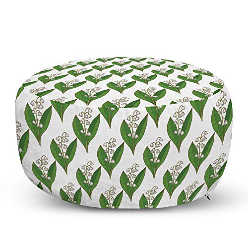Lunarable Apothecary Pouf Cover with Zipper, Symmetric and Repetitive Pattern with Lily of The Valley Print, Soft Decorative Fabric Unstuffed Case, 30' W X 17.3' L, Fern Green and White