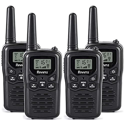 Rivins RV-7 Walkie Talkies Long Range 4 Pack 2-Way Radios Up to 5 Miles Range in Open Field 22 Channel FRS Walkie Talkie for Adults UHF Handheld Walky Talky (Black/Orange)