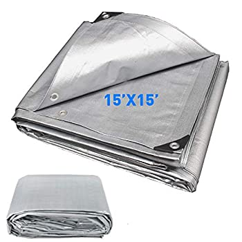 EasyGoProducts Hercules Tent Shelter Cover Waterproof Tarpaulin Plastic Tarp Protection Sheet for Con  15x15-Sliver  15x15 Silver
