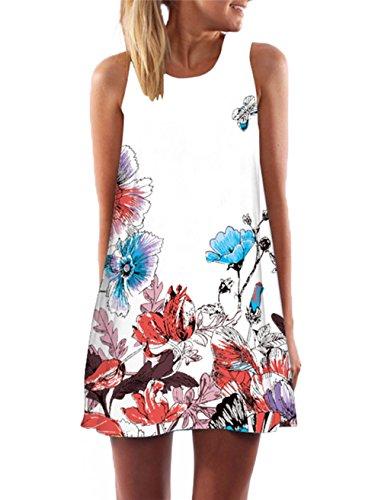 YOINS Sommerkleid Damen Kurz Sexy Kleid Elegant Strandkleid Schulterfrei Blumenmuster Ärmellos Minikleider