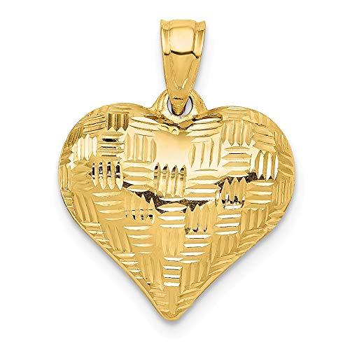 14k Yellow Gold Basket Weave Pattern 3 D Heart Pendant Charm Necklace Love Puffed Fine Jewelry For Women Gifts For Her
