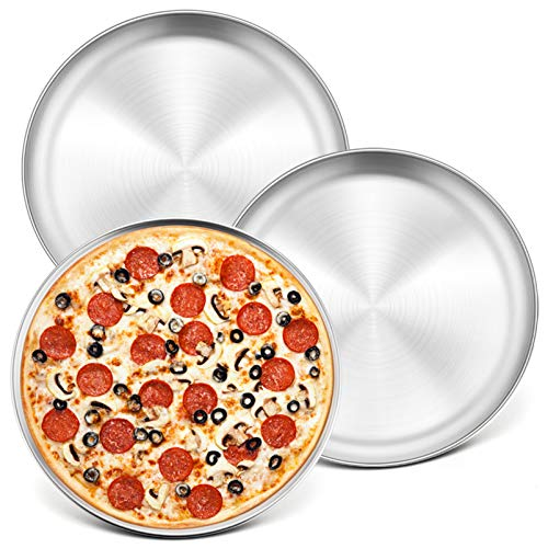 10-Inch Pizza Pan Round Pizza Tray, P&P CHEF Pizza Baking Tray Bakeware Set, Non-toxic & Healthy, Heavy Duty & Durable, Oven & Dishwasher Safe, 3 PACK