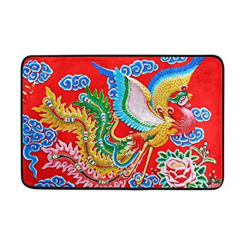 Chino Colorido Phoenix Felpudo Antideslizante Decoración para el hogar, Alfombra de Entrada Exterior Duradera, Alfombra para Mascotas 40x60 cm