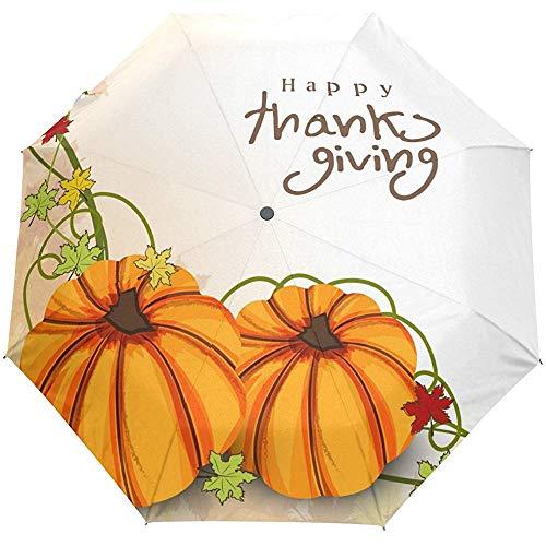 Happy Thanksgiving Day Kürbis Auto Open Close Sun Regen Regenschirm