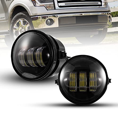 4' Round Fog Lights Compatible with 2011-2014 Ford F-150 2X30W CREE LED Spot Fog...