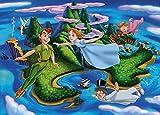 CHANGJIU- Puzzle De Madera De 1000 Piezas para Adultos Y Niños Póster del Anime Peter Pan Y Tinkerbell Divertido Juego para Aliviar El Estrés,29.5X19.6 Pollici