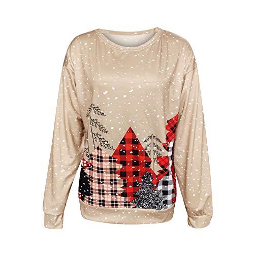 qiaoxiahe Damen Pullover Weihnachten Weihnachtsdruck Langarm Sweatshirt mit rundem Hals Lässig Kapuzenpullover Schöne Longsleeve Blusen Tunika Langarmshirt