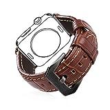 bandmax Für Apple Watch Armband 42mm, Braunes Echtes Lederarmband mit Schwarzer Metall...