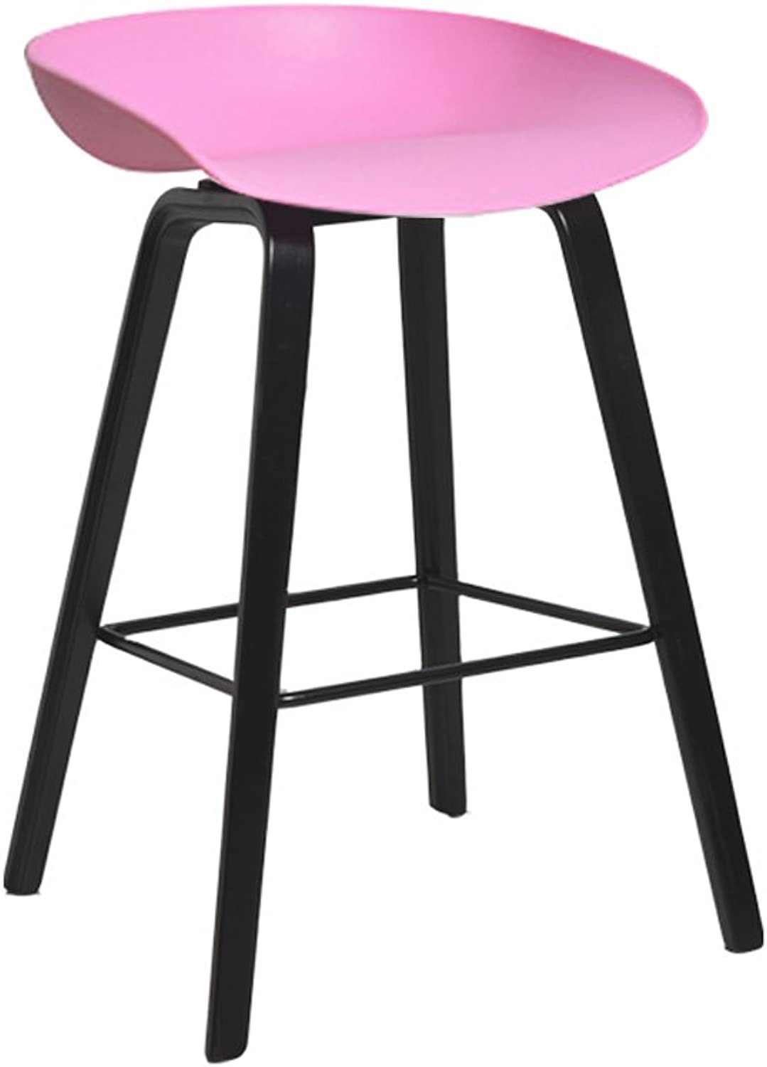 Zhang Modern Minimalist Bar Stool High Stool High Bamboo Pole Wooden Bar Chair Creative Bar 65cm (color   Pink)
