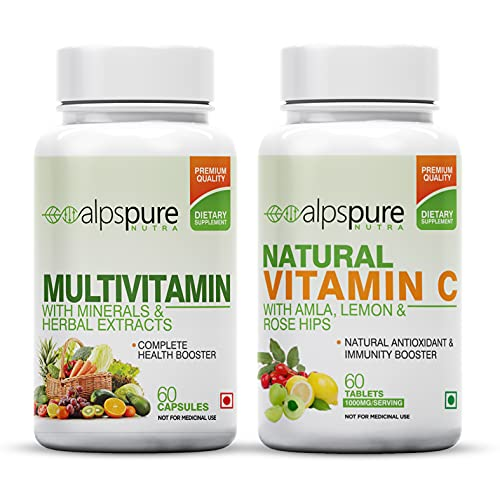 Alpspure Nutra Multivitamin 60 Capsules & Natural Vitamin C 60 Tablets with Amla, Lemon, Rose Hips, Immunity Booster, Health Booster with Natural Antioxidants (Combo)