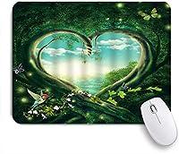 ZOMOY マウスパッド 個性的 おしゃれ 柔軟 かわいい ゴム製裏面 ゲーミングマウスパッド PC ノートパソコン オフィス用 デスクマット 滑り止め 耐久性が良い おもしろいパターン (魔法の森ファンタジーワンダーランドおとぎ話ジャングルの木フラワーブランチバタフライナチュラルレイク)
